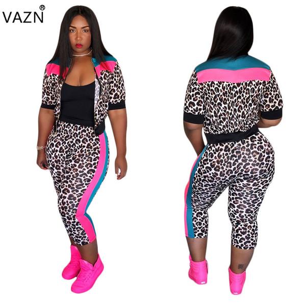 Модные 2-х частей леопардовые узкие спортивные костюмы женщин с молнией верхом с брюками с брюками женские полые спортивные костюмы