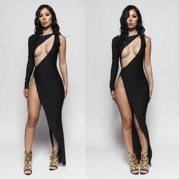 Abito da donna sexy abito da sera elegante lungo con scollo a maniche lunghe vestito aderente da notte da sera con fascia alta Abiti da festa 2018 Y190425