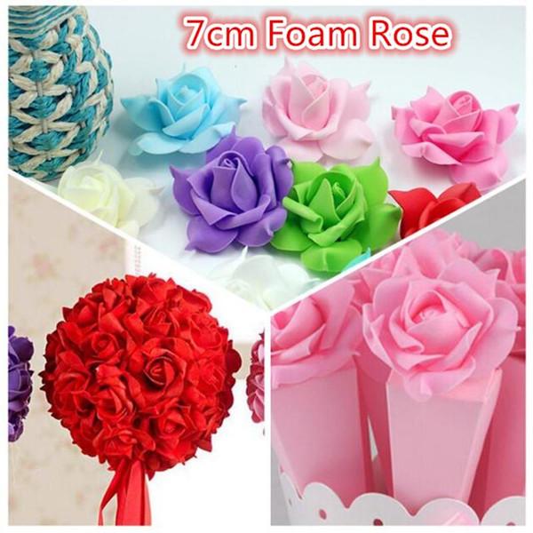 Wholesale- Cheap 10pcs PE Foam Pentagon Rose Artificial Flowers For Wedding Home Decoration Mariage Rosa Flores Clothing Hats Accessories