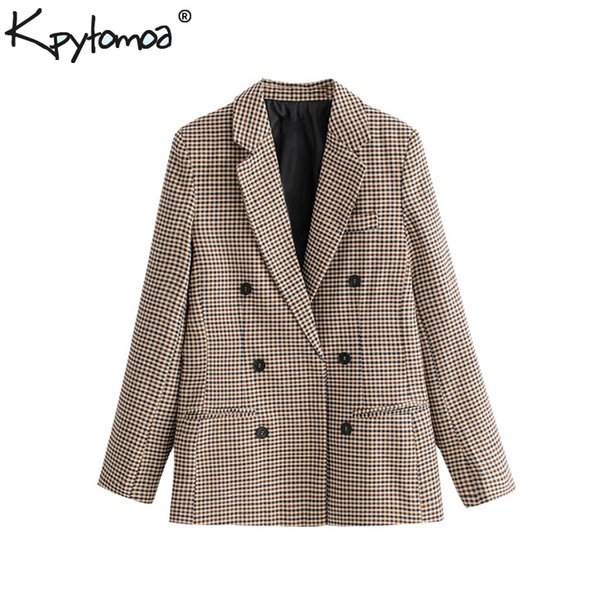 Vintage Kruvaze Ekose OL Blazers Ceket Kadınlar 2018 Moda Uzun Kollu Ofis Bayanlar Giyim Casual Workwear Ceket Tops