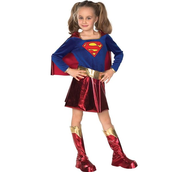 Supergirl Clothes Cosplay CostumesHalloween Purim Costumes For Girl Kids Party Dress