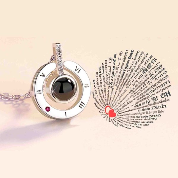 I Love You 100 Languages Projection with shake sound Pendant Necklace For Women Romantic Choker Necklace Love Wedding Gift