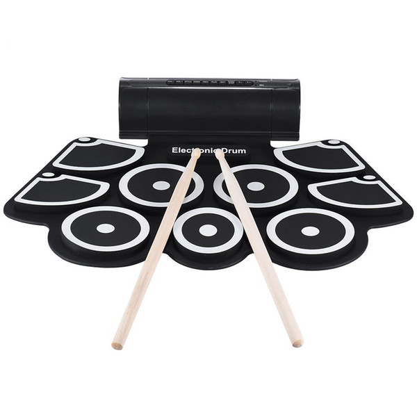 Portable Electronic Roll Up Drum Pad Set 9 Silicon Pads Built-In Speakers With Drumsticks Foot Pedals Usb 3.5Mm Audio Cable Uk