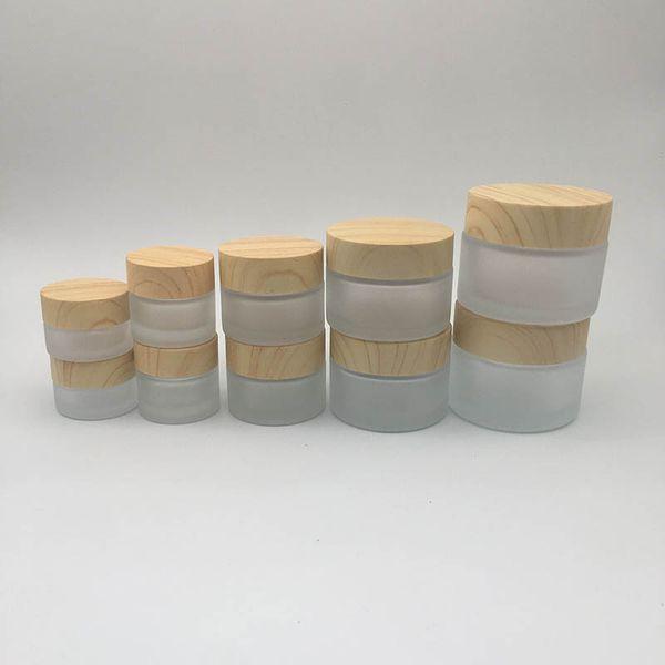 Vaso per crema di vetro smerigliato con grana di legno Coperchio per la cura della pelle Lozione per la cura della pelle Crema per mani Crema per la faccia 5g-10g-15g-30g-50g