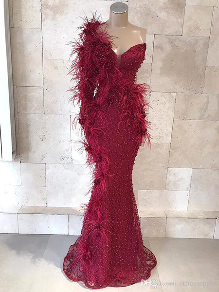 One Shoulder Burgundy Mermaid Prom Dresses Lace Beads 3D Floral Appliqued Floor Length Evening Gowns Custom Made Black Girls Party Dress