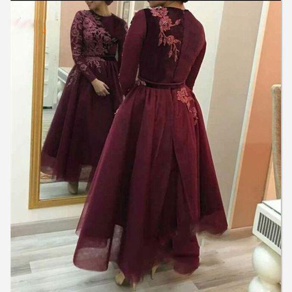 Burgundy Tulle una línea de vestidos de noche de manga larga Abaya árabe mujeres apliques de encaje hasta el tobillo vestidos de baile