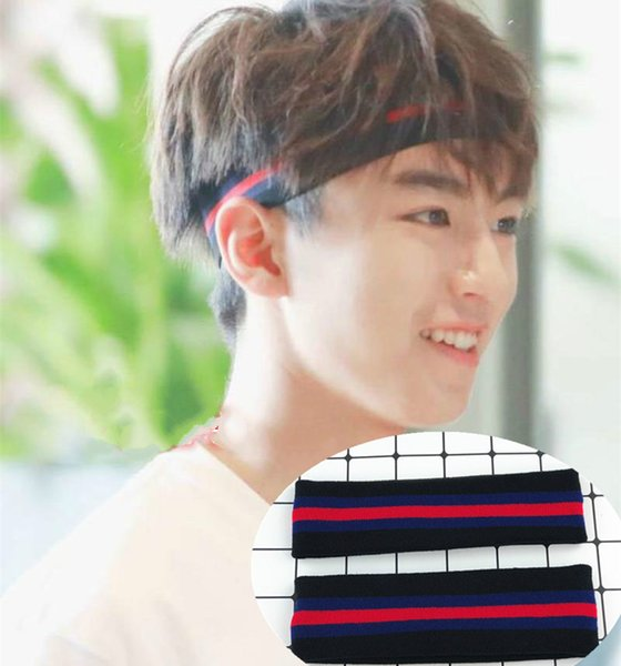 High-energy juvenile group Wang Junkai with stripe hair band summer breathable comfort sweat-absorbent hip-hop men's and women's headband
