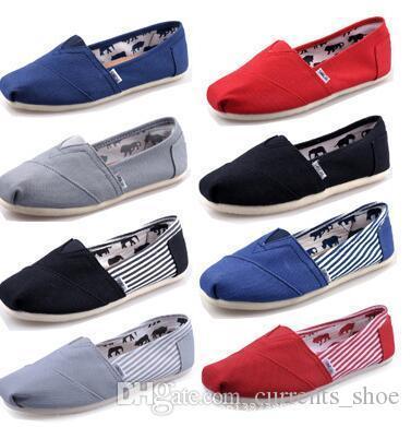 Sapatos casuais Mulheres / Homens Clássicos TOM MRS Mocassins Canvas Slip-On Flats Sapatos Preguiçosos Sapatos Tamanho 5-15 Frete Grátis Cáqui