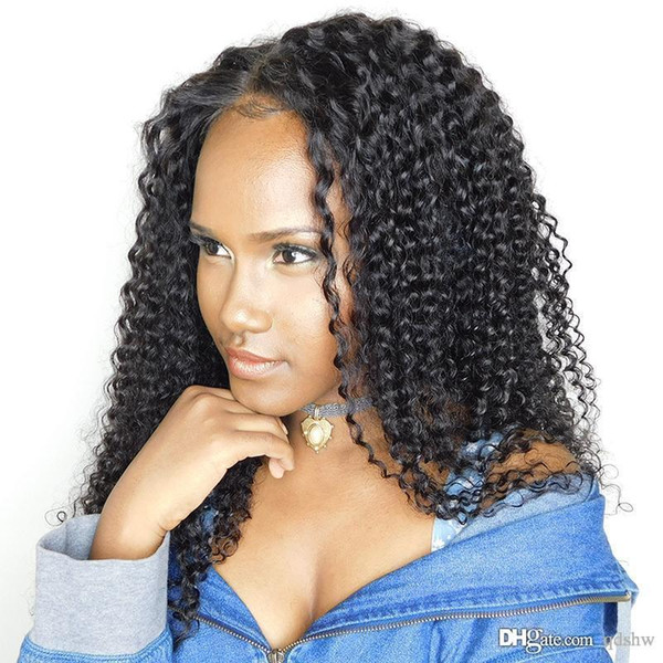 Kinky Curly Full Lace Wigs Glueless Unprocessed Mongolian Virgin Hair Pre Plucked Kinky Curly Human Hair Lace Front Wig For Black Women