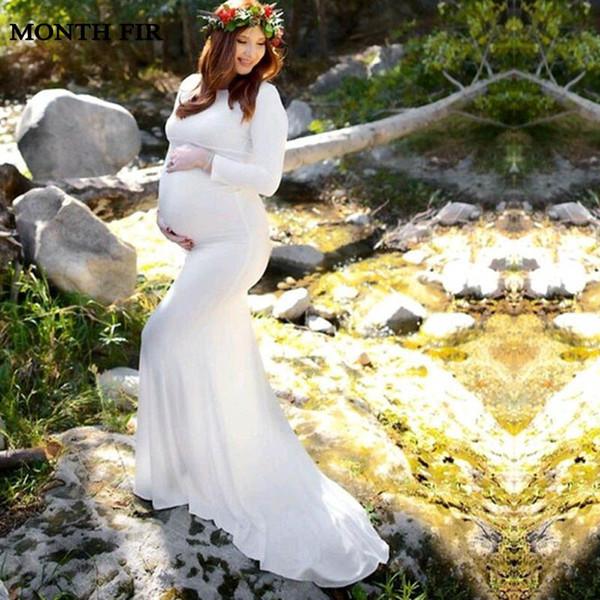 Maternidade Fotografia Adereços Vestidos de Algodão Manga Comprida Vestido Gravidez Vestido Sereia Estilo Baby Shower Gravidez Plus Size Vestido
