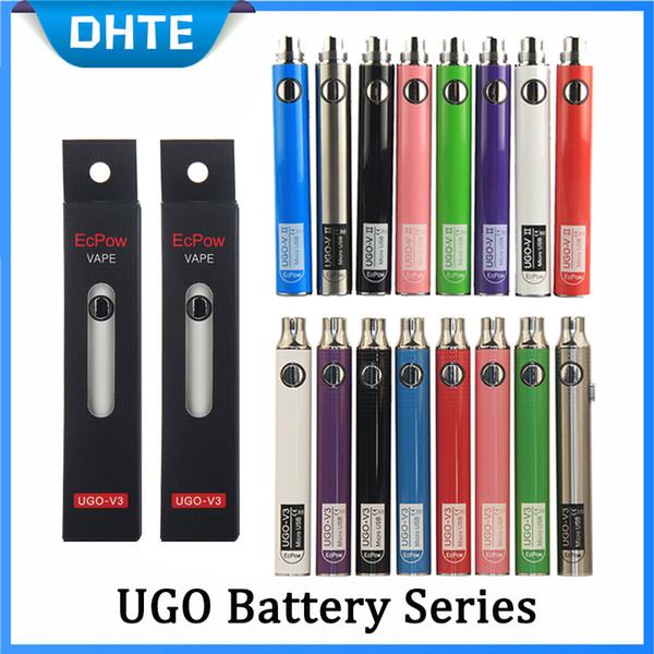 Authentic Evod UGO V 650mAh 900mAh Ego 510 Battery 8colors Micro USB Charge Passthrough E-cig O Pen Vape Batterry Vs Vision Spinner Law