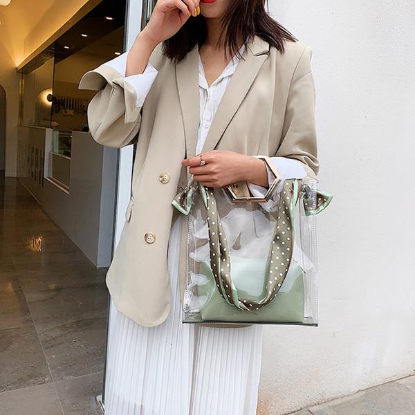 2019 das mulheres dama da moda Verão Mulheres Silk Scarf Transparente Shoulder Strap Moda Shoulder Bag Handbag
