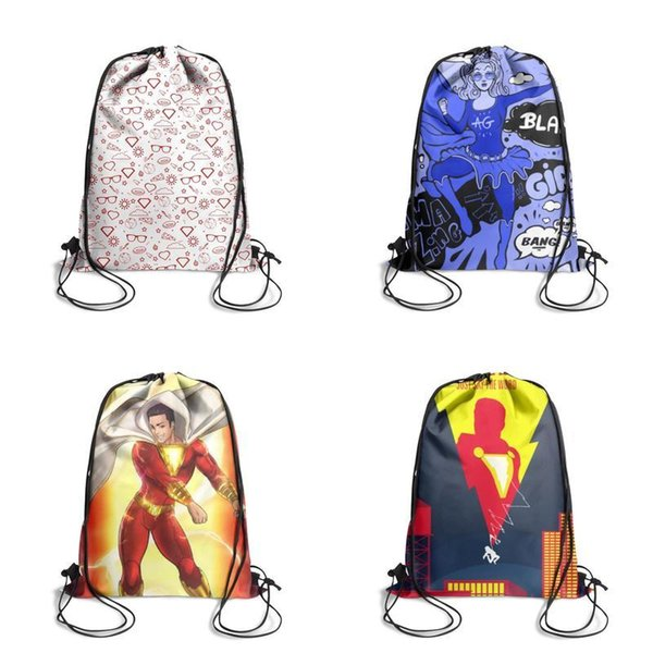 Supergirl Kara's pattern hero red Cartoon Printing Unicorn Drawstring Bags non-woven pony Backpack students Shoulder storage pouch cute