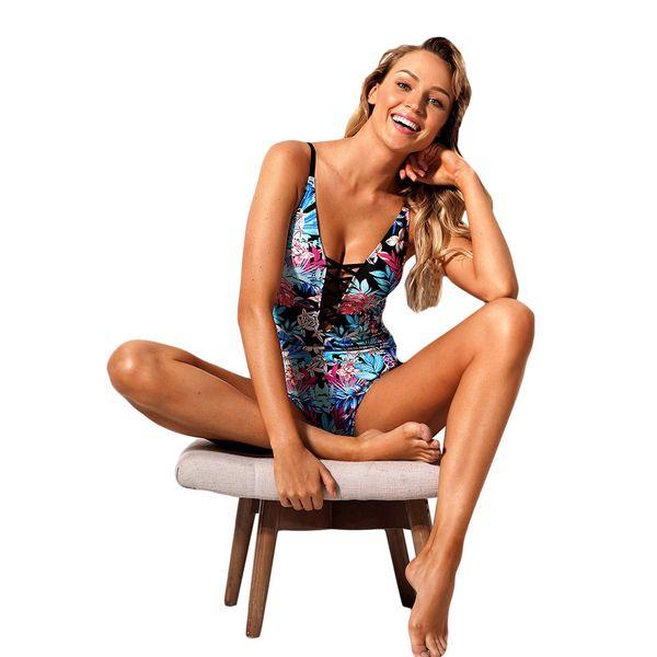 Swimwear Sexy para As Mulheres Floral Imprimir One Piece Swimsuit Mulheres New Vintage Swim Monokinis Lace Up Bodysuit Maiô XL