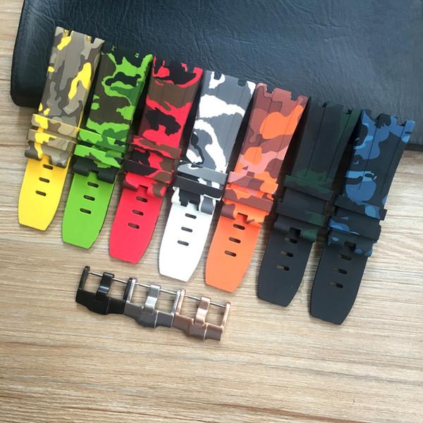 Cinturino orologio 28mm (24mm con fibbia) Verde Giallo Rosso arancio Camouflage cinturino in silicone con cinturino cinturino senza fibbia