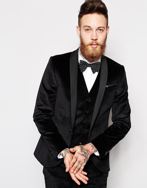 Black Velvet Groom Tuxedos Shawl Lapel Slim Fit Groomsmen Wedding Dress Autumn Winter Style Men Formal Party Prom Suit(Jacket+Pants+Tie+Vest