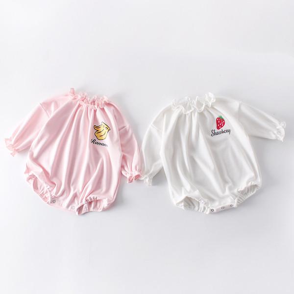 neonata Abbigliamento firmato Pagliaccetto manica lunga O-collo Pagliaccetto carino frutta neonato bambini 100% cotone Primavera Autunno Abbigliamento per bambini