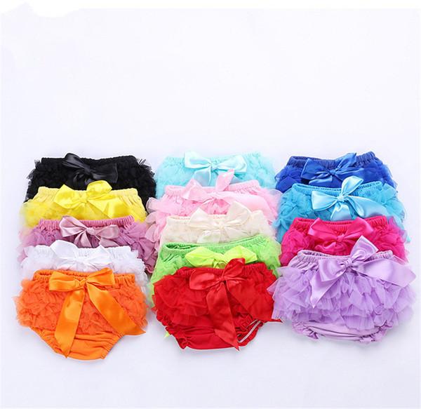 Lovely Baby Ruffles Chiffon Bloomer Tutu Infant Toddler Cotton Silk Bow Skirt Shorts Kids Layers Skirt Diaper Cover Underwear PP Shorts B11