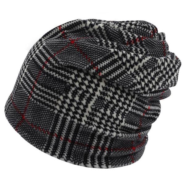 Теплая зима Beanie Hat для Man New Turtleneck Hat Plaid печати Tactical руно Watch Cap, черный - один размер черепа