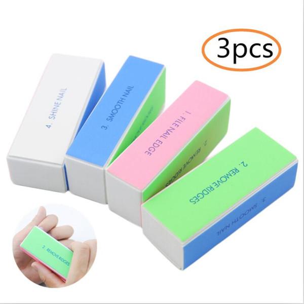 3Pcs/Lot Sponge Professional Nail File Buffer Block For Nail Art Sanding Files For UV Gel Polish Manicure Treatment Tools