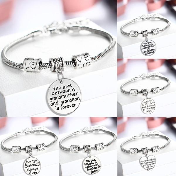 Bracelet Famille amour coeur parfait cadeau pour les membres de la famille pour les anniversaires de Noël SISTER MOM Clear Charm Love Bracelet