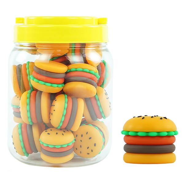 25pcs / lot antiadhésif conteneurs de cire boîte de hamburger silicone contenant 5 ml de silicium porteur d'huile de pot pour les bocaux de qualité alimentaire pour vaporiseur outil de limande de vape