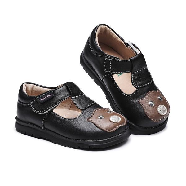 Tipsietoes KIDS Printemps automne enfant rose noir plat en cuir véritable bambin chaussure de mode bébé fille marque mocassins oxford