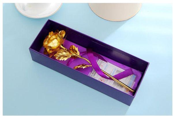 Nueva Hermosa 25 cm Valentine '; S Day 24 k Hoja Dorada Flor de Rose Hecho a mano Hecho a mano Largo Vástago Amantes Regalo de boda Caja púrpura