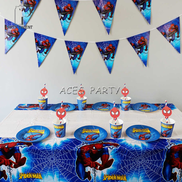 38Pcs for 12kids Super Hero Spiderman theme birthday party supplie tableware set, plate+straw+glass+banner+tablecloth ect SH190911