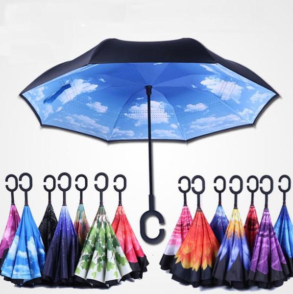 Alta calidad a prueba de viento inversa plegable de doble capa invertida Chuva paraguas auto para manos adentro hacia afuera lluvia Protección C-Hook