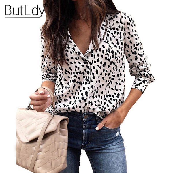 bf1c90948 Leopardo Mulheres Camisas de Manga Longa Primavera Verão 2019 Moda Blusa  Com Decote Em V Camisa