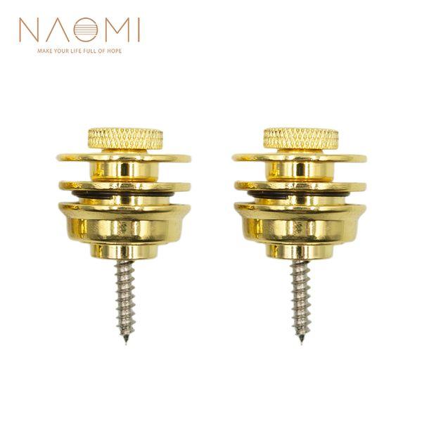 top popular NAOMI Guitar Strap Button Lock Straplocks Guitar Acoustic Electric Bass Strap Golden Color Guitar Parts Accessories New 2021