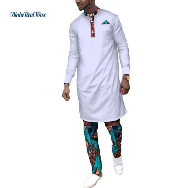 Casual Dashiki Roupas Tops e Calças Africano Conjuntos de Roupas Masculinas Bazin Riche Africano 2 Peças de Camisa Longa e Conjuntos de Calças WYN545