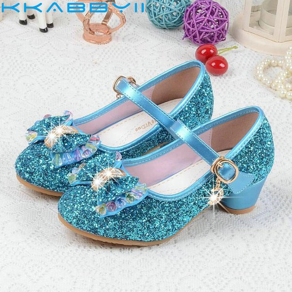 New Butterfly Children Princess Sandal Girls Bowtie Hight Heels Party Dance Sandals For Baby Girls Kids Leather Shoes Size 26-37 Y19051303