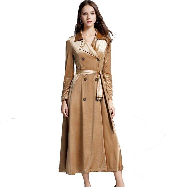 Macloth D'or Du De Acheter Long Vent 2019 Nouveau Manteau Taille103 Femme Cravate Velours 48 Boutique Printemps Coupe ygv7b6YIf