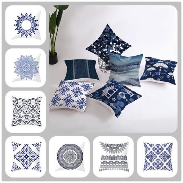 1PCS Funda de almohada de pareja de estilo chino 45 * 45CM Funda de almohada de navidad cuadrada de porcelana azul y blanca de accesorios para el hogar