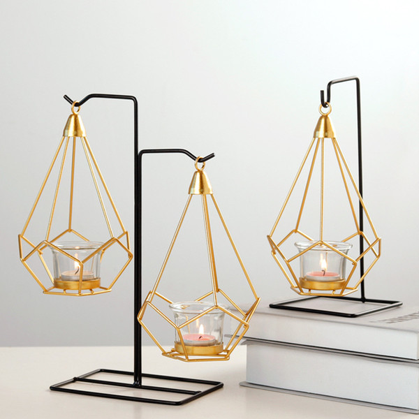 Geometric shape Candlestick Nordic Iron art chandelier Wedding Prop Home decoration metal Crafts living room Decoration