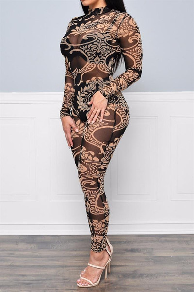 Sexy high-necked long-sleeved bodycon tight jumpsuit sheer Floral Print jumpsuits pants sexy dress club wear underwear women
