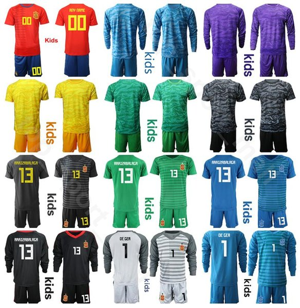 Youth Spain Long Goalkeeper GK Goalie Soccer Jersey Set Kids 1 DE GER 1 CASILLAS 23 REINA 13 ARRIZABALAGA Football Shirt Kits Uniform