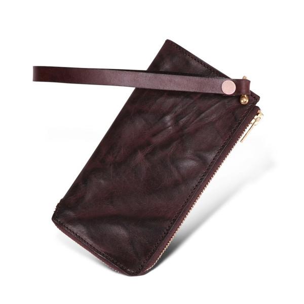 Neue Männer Lange Brieftasche Echte Kuh leder Männer Brieftaschen Aus Echtem Leder Lange Geldbörse Für Reißverschluss Große Kapazität Kartenhalter Geldbörse