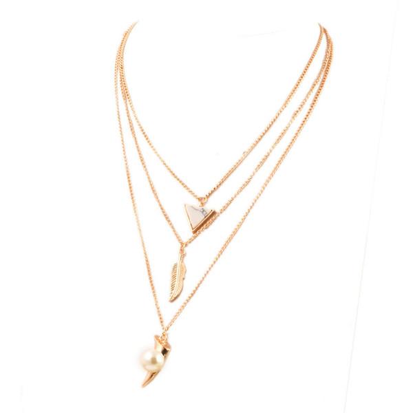 Bijoux de mode en alliage Link Chain Collier multicouche corps chaîne feuille pendentif colliers
