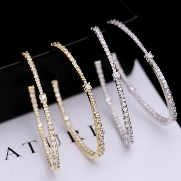 Темперамент приток личности овальные большие серьги корейской версии моды преувеличены серьги инкрустированные Циркон серебряные серьги иглы