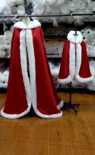 2019 Warm Bridal Cape Winter Fur Giacca da donna da sposa lunghezza del pavimento di Natale Mantelli Lunghi abiti da sposa per genitori