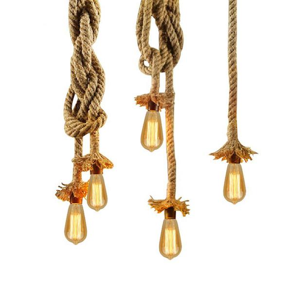 Винтаж Веревка Подвесной Светильник Лампа AC 90-260 В Лофт Творческая Личность Промышленные Лампы Эдисона Лампы Американский Стиль Для Гостиной