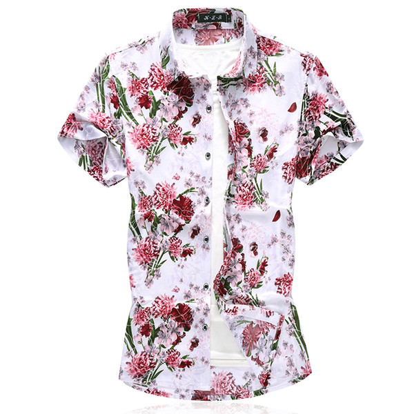 Летняя Мода Цветочные Рубашки С Коротким Рукавом Мужчины Сорочка Homme Плюс Размер Мерсеризованный Хлопок Рубашки Мужские Повседневная Одежда 6XL 7XL