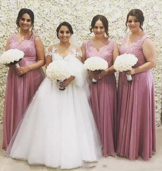 Compre Vestidos Largos Para Damas De Honor Color Rosa Polvoriento 2018 Nuevo Talla Grande Top De Encaje A Line Chiffon Beach Country Vestidos De Damas
