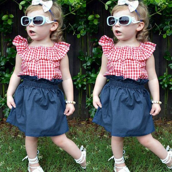 Yürüyor Çocuk Bebek Kız Giysileri Fırfır Ekose Denim Etek 2 adet Kıyafet Sunsuit Tops