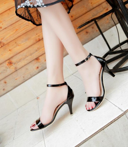 2019 new European and American high heel stiletto sexy thin belt open toe word buckle sandals women's shoes summer