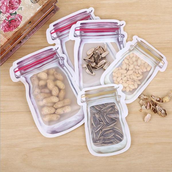 Mason Jar a forma Borse contenitore di alimento amichevole riutilizzabile di Eco Bag Snacks PE sicuro Cerniere di plastica sacchetti di immagazzinaggio Odore LXL726A clip Proof