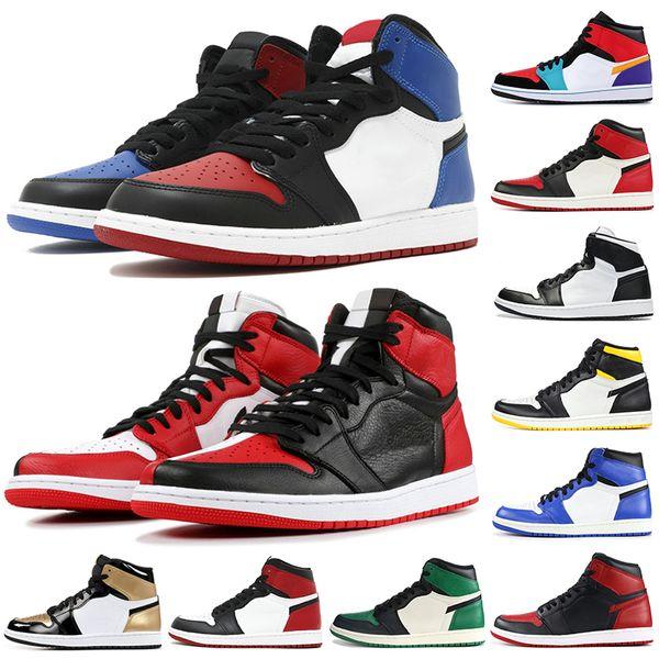 Erkekler Yasaklı Siyah Ayak 1 OG Basketbol Ayakkabıları Orta Bred Chicago Top 3 Gölge Üçlü Siyah Altın Ayak Erkek Tasarımcı Ayakkabı Atletizm Sneakers